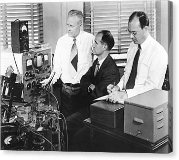 Electronic Component Canvas Print - Physicists Brattain, Bardeen And by Science Photo Library