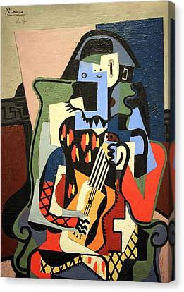 Picasso's Harlequin Musician Canvas Print by Cora Wandel