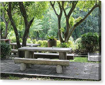 Canvas Print featuring the photograph Picnic Table by Lorna Maza