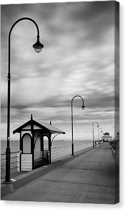 Pier Into The Past Canvas Print by Shari Mattox