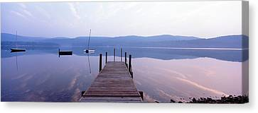 Pier, Pleasant Lake, New Hampshire, Usa Canvas Print by Panoramic Images
