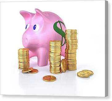 Piggy Bank Canvas Print - Piggy Bank And Gold Coins by Leonello Calvetti