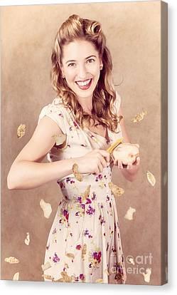 Enjoyment Canvas Print - Pin-up Cooking Girl Peeling Potato. Quick Recipe by Jorgo Photography - Wall Art Gallery