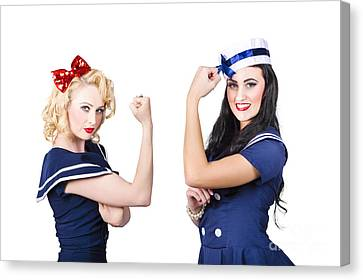 Seafarer Canvas Print - Pin-up Sailor Girls Showing Physical Strength by Jorgo Photography - Wall Art Gallery