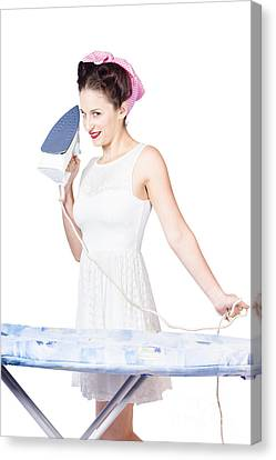 Pin Up Woman Providing Steam Clean Ironing Service Canvas Print by Jorgo Photography - Wall Art Gallery