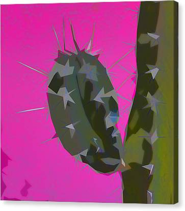 Pink And Green Cactus Collage Canvas Print