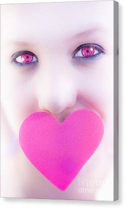 Youthful Canvas Print - Pink Eyed Woman And Love Heart by Jorgo Photography - Wall Art Gallery