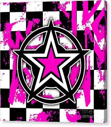 Pink Star Checkerboard Canvas Print