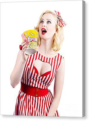 Pinup Cinema Girl At Box Office Movie Premiere Canvas Print