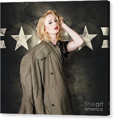 Hairstyle Canvas Print - Pinup Girl In Retro Model Makeup And 60s Hairstyle by Jorgo Photography - Wall Art Gallery