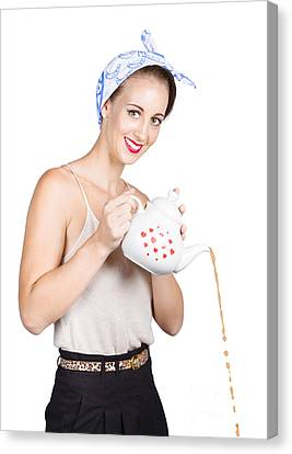 Pinup Girl Pouring Coffee Canvas Print by Jorgo Photography - Wall Art Gallery