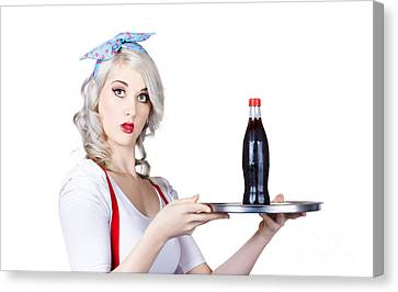 Pinup Girl Waiter Holding Silver Soda Tray Canvas Print by Jorgo Photography - Wall Art Gallery
