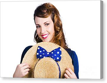 Pinup Girl With Straw Hat Canvas Print by Jorgo Photography - Wall Art Gallery