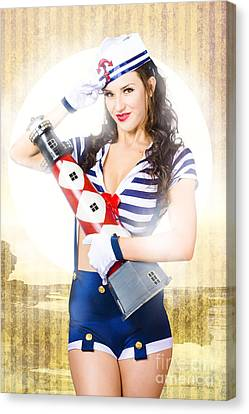 Pinup Portrait Of Young Happy Naval Woman Canvas Print by Jorgo Photography - Wall Art Gallery