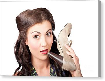 Pinup Vintage Woman Chatting On Shoe Phone Canvas Print