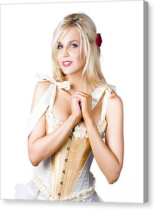 Pinup Woman In Corselet Dress Canvas Print by Jorgo Photography - Wall Art Gallery
