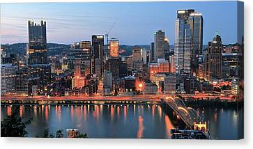 Pittsburgh At Dusk Canvas Print by Frozen in Time Fine Art Photography