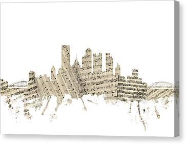 Pittsburgh Pennsylvania Skyline Sheet Music Cityscape Canvas Print by Michael Tompsett
