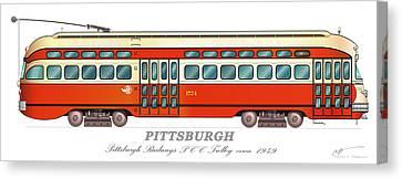 Pittsburgh Railways Pcc Trolley Circa 1949 Canvas Print by Carlos F Peterson