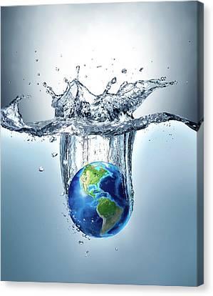 Planet Earth Splashing Into Water Canvas Print by Leonello Calvetti