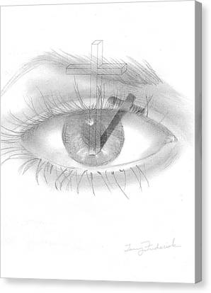 Canvas Print featuring the drawing Plank In Eye by Terry Frederick