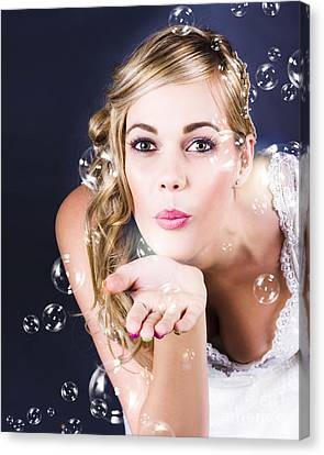 Playful Bride Blowing Bubbles At Wedding Reception Canvas Print