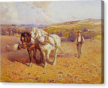 Ploughing Canvas Print by Joseph Harold Swanwick