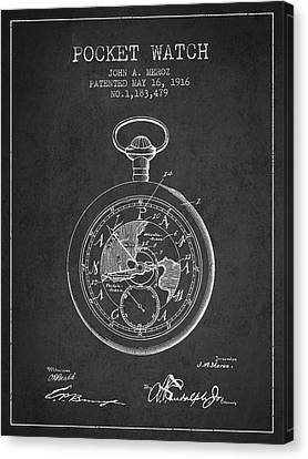 Pocket Watch Patent From 1916 Canvas Print by Aged Pixel