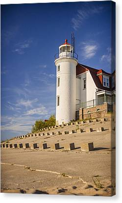 Point Betsie Lighthouse Michigan Canvas Print by Adam Romanowicz
