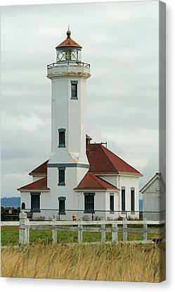 Canvas Print featuring the photograph Point Wilson Lighthouse by E Faithe Lester