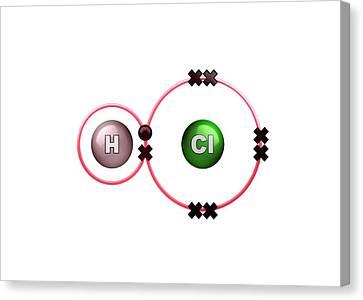 Bonding Canvas Print - Polar Bond In Hydrogen Chloride Molecule by Animate4.com/science Photo Libary