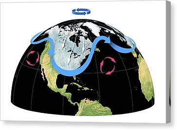 Polar Vortex And Jet Stream Canvas Print by Gary Hincks