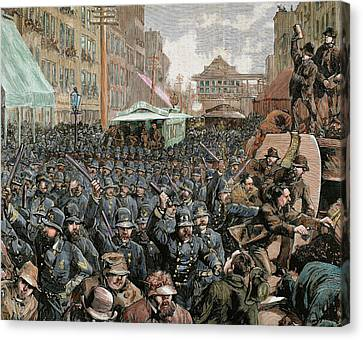 Police Officers Dispersing The Strike Canvas Print by Prisma Archivo