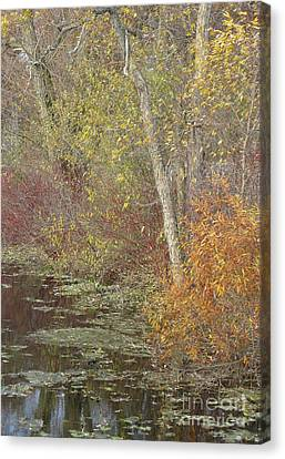 Pondside Pastel Canvas Print by Ann Horn