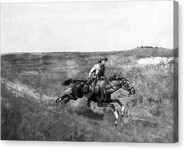 Pony Express Rider Canvas Print by Underwood Archives