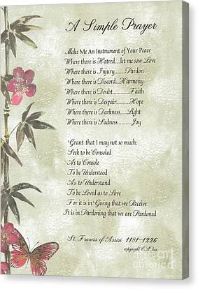 Francis Canvas Print - Pope Francis St. Francis Simple Prayer Butterfly Garden by Desiderata Gallery