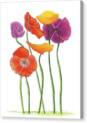 Canvas Print featuring the painting Poppies A Plenty by Nan Wright