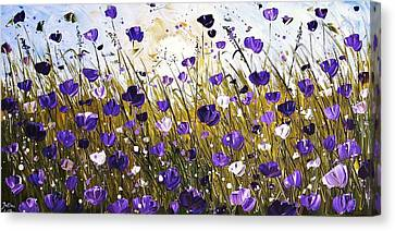 Poppis In Purple Canvas Print by Jolina Anthony