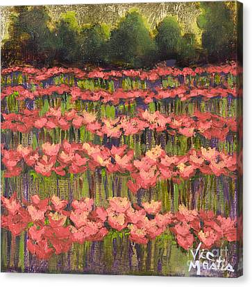 Poppy Field With Gold Leaf By Vic Mastis Canvas Print by Vic  Mastis
