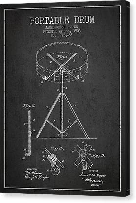 Drummer Canvas Print - Portable Drum Patent Drawing From 1903 - Dark by Aged Pixel