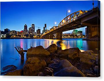 Canvas Print featuring the photograph Portland Oregon Skyline At Blue Hour by JPLDesigns