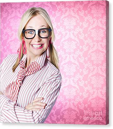 Youthful Canvas Print - Portrait Of A Nerd Businesswoman With Funny Smile by Jorgo Photography - Wall Art Gallery