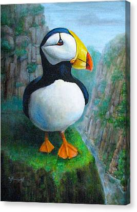 Portrait Of A Puffin Canvas Print by Oz Freedgood