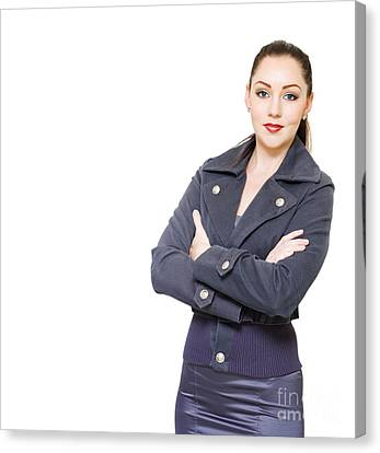 Portrait Of A Young Female Executive On White Canvas Print by Jorgo Photography - Wall Art Gallery