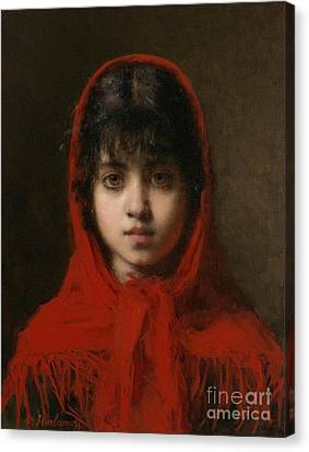 Portrait Of A Young Girl Canvas Print by Celestial Images