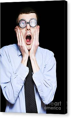 Portrait Of Astonished Accounting Businessman Canvas Print by Jorgo Photography - Wall Art Gallery