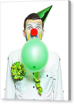 Portrait Of Birthday Clown Preparing To Party Canvas Print