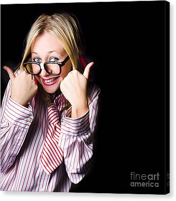 Portrait Of Businesswoman Gesturing Good To Go Canvas Print
