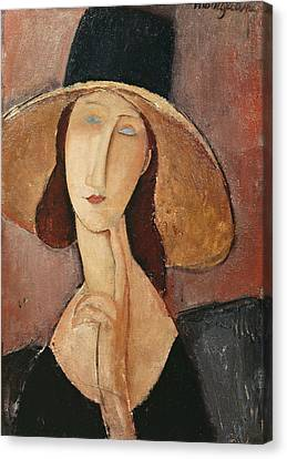 Portrait Of Jeanne Hebuterne In A Large Hat Canvas Print by Celestial Images