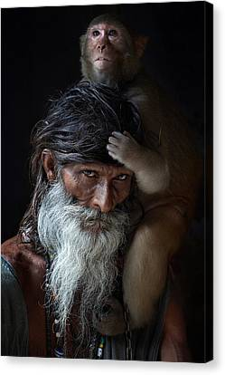 Portrait Of Sadhu Canvas Print by Gilles Lougassi